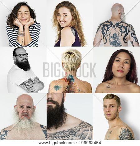 Set of Diversity People Showing Tattoo Studio Collage