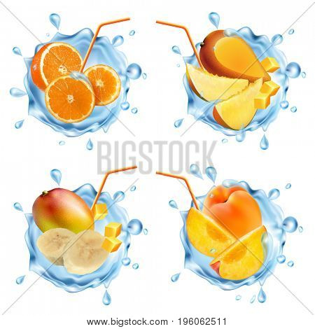 Fruit in a water splash. Set of realistic splashes of water, fruit and fruit slices. Mango, peaches, bananas, oranges. The raster version.