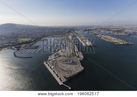 Aerial view of the San Pedro marina and harbor facilities in Los Angeles, California.