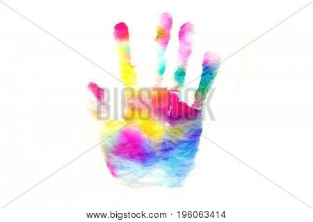 Rainbow color hand print or palm stamp. isolated on white