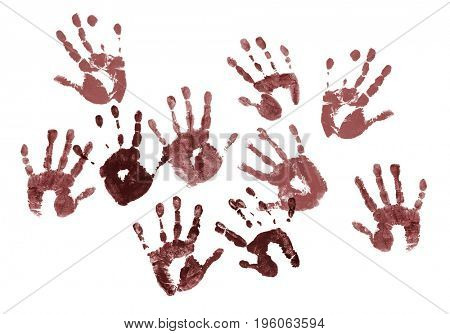 Spooky hands prints over white background