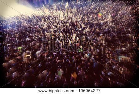 crowd at concert - summer music festival - zoom in effect