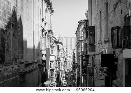 Typical street view of Valletta in Malta