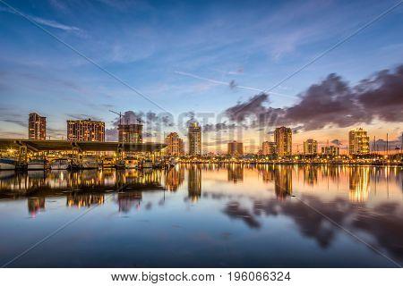 St. Petersburg, Florida, USA downtown city skyline on the bay.
