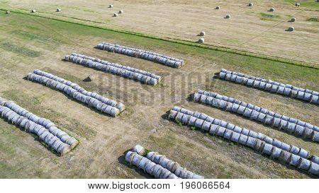 hay bales in Nebraska Sandhills -aerial view