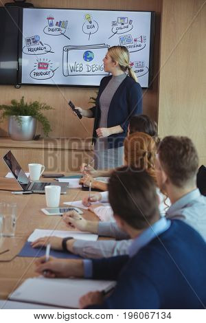 Businesswoman interacting with colleagues during meeting in board room