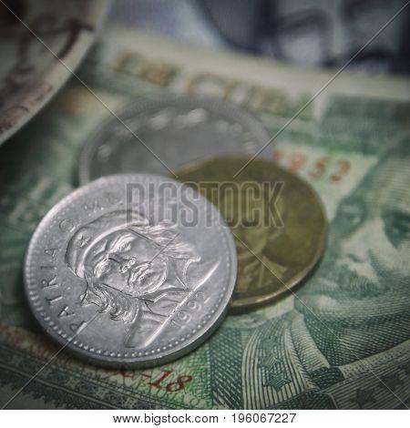 Closeup detail of Cuban Pesos