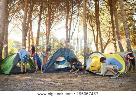 Young friends setting up their tents on field at countryside