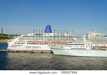 Tallin, Estonia-July 07, 2017: P&O line cruise ship :Aurora