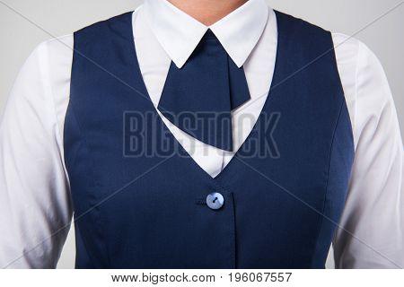 Service woman uniform, closeup photo