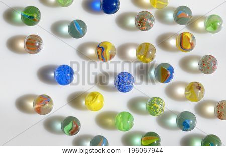 Glass marble balls and shadows