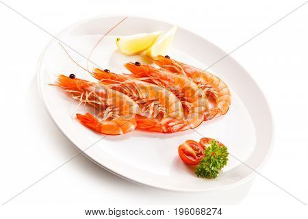Shrimps on white background