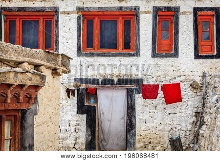Monks residential quarters in Diskit Buddhist Monastery in Nubra Valley in Kashmir, India