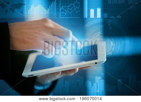 Concept of management information systems. Man using tablet, closeup
