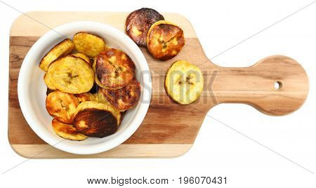 Roasted Plantains in bowl and on Cutting Board Over White