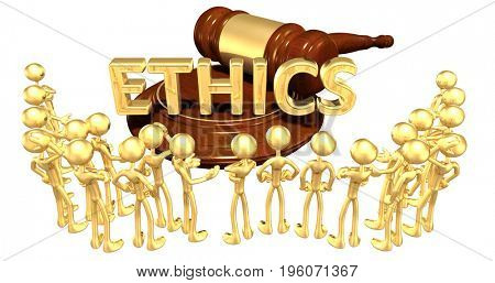 Ethics Law Concept With The Original 3D Characters Illustration