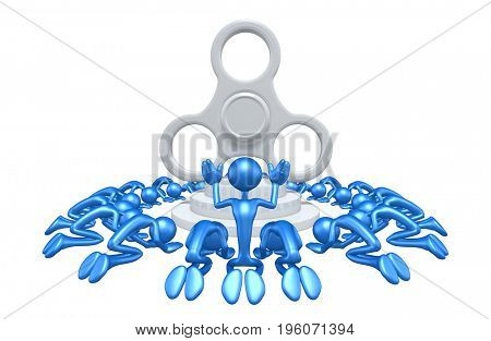 Worshiping A Fidget Spinner The Original 3D Characters Illustration