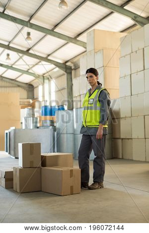 Portrait of female worker standing near boxes in factory