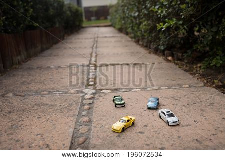 Close up of toy cars on footpath in yard