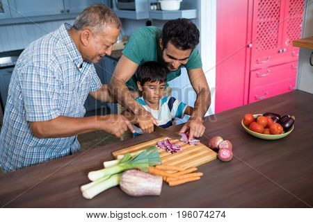 Smiling man looking at boy cutting onion with father in kitchen at home