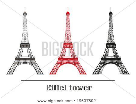 Set of vector illustration grey red and black Eiffel tower isolated on white background