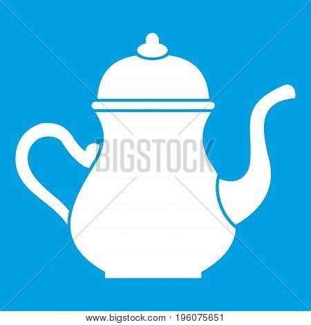 Traditional Turkish teapot icon white isolated on blue background vector illustration