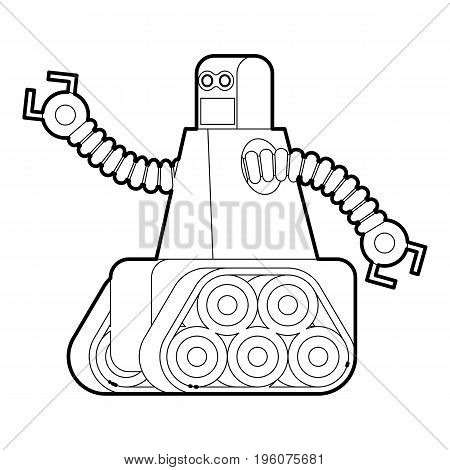 Robot with caterpillar track icon in outline style isolated on white vector illustration