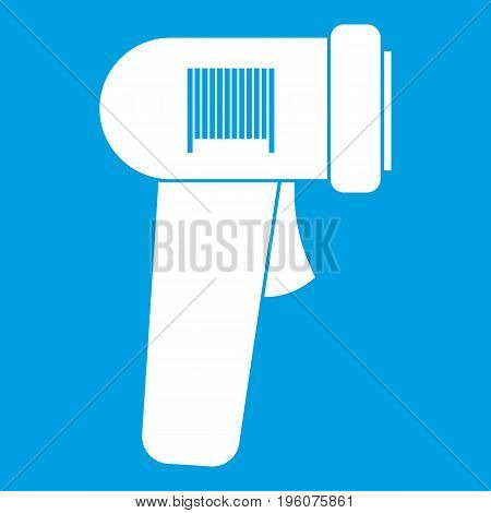 Barcode scanner icon white isolated on blue background vector illustration