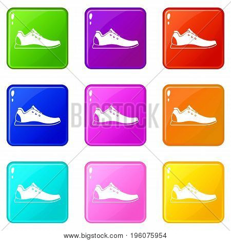 Athletic shoe icons of 9 color set isolated vector illustration