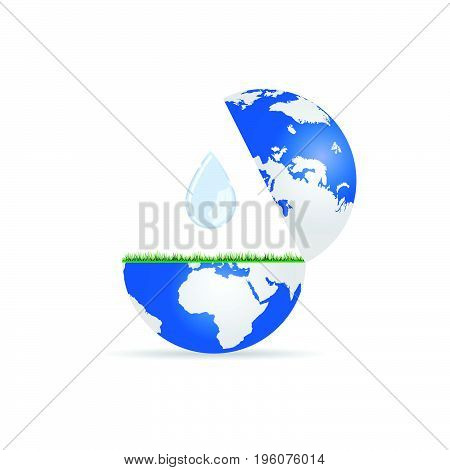 Globe With Water Drop Illustration