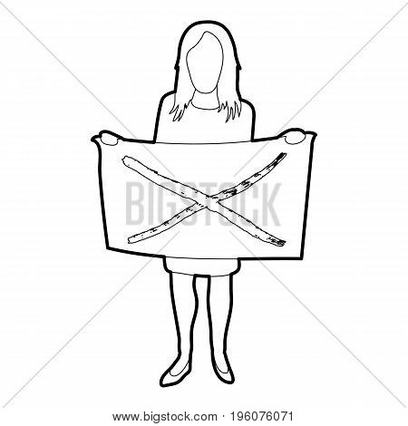Riot of woman icon in outline style isolated on white vector illustration
