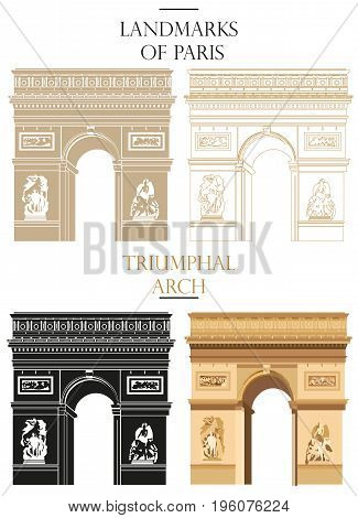 Set of vector isolated Triumphal Arch in black white and colors: contour and silhouette on white background