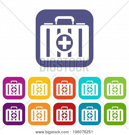 First aid kit icons set vector illustration in flat style in colors red, blue, green, and other