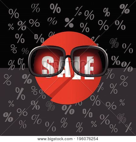 Sale Icon With Sunglasses Illustration