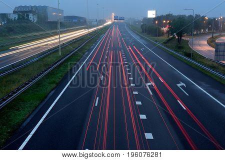 traffic stay in your lane in slow shutterspeed