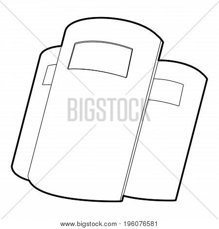 Police shields icon in outline style isolated on white vector illustration