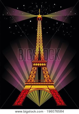 Vector Illustration: Colorful Eiffel tower in night with spotlights and srars on black background