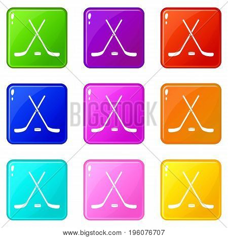 Crossed hockey sticks and puck icons of 9 color set isolated vector illustration