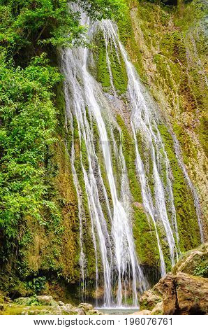 Part of the 35m tall upper section of the Mele Cascades Waterfalls - Port Vila Efate Island Vanuatu