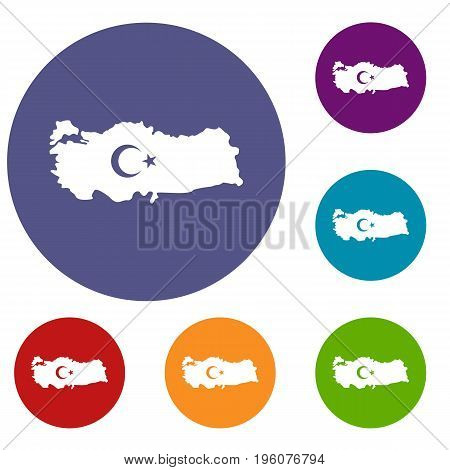 Map of Turkey with national flag symbols icons set in flat circle red, blue and green color for web