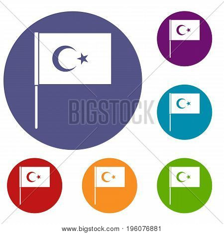 Turkish flag icons set in flat circle red, blue and green color for web