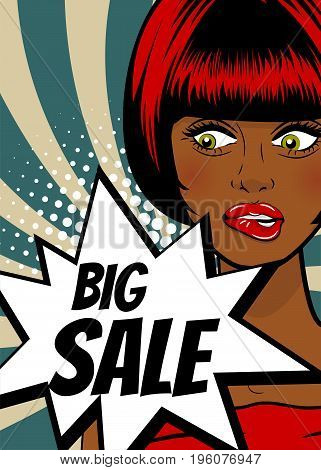 Big sale. Pop art sexy woman advertise vintage poster. Comic book text balloon speech bubble. Discount banner vector retro illustration. Girl comic wow face surprised marketing special offer.
