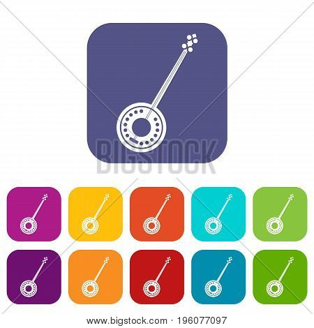 Banjo icons set vector illustration in flat style in colors red, blue, green, and other