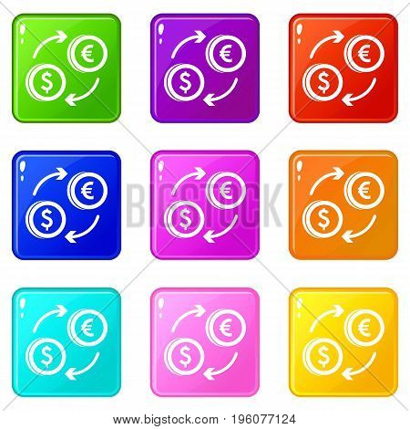 Euro dollar euro exchange icons of 9 color set isolated vector illustration