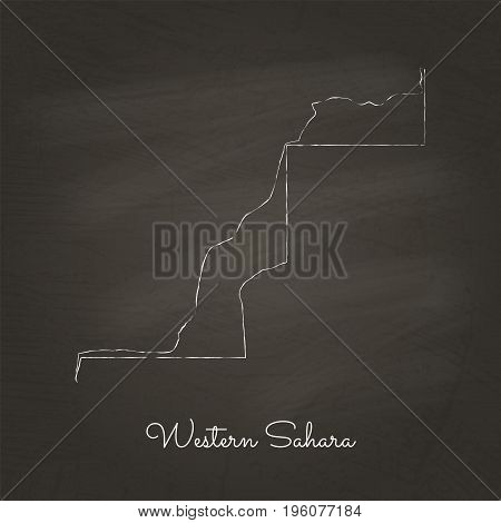 Western Sahara Region Map: Hand Drawn With White Chalk On School Blackboard Texture. Detailed Map Of