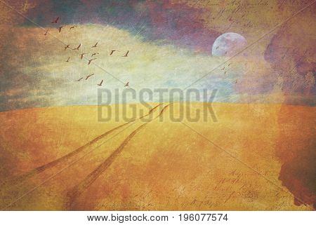 Surreal deserted sand dune landscape with vehicle tracks disappearing over the horizon. Vintage grunge textured digital photo manipulation.