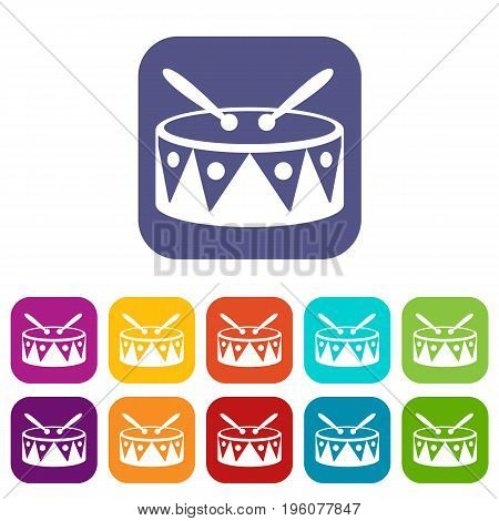 Drum and drumsticks icons set vector illustration in flat style in colors red, blue, green, and other
