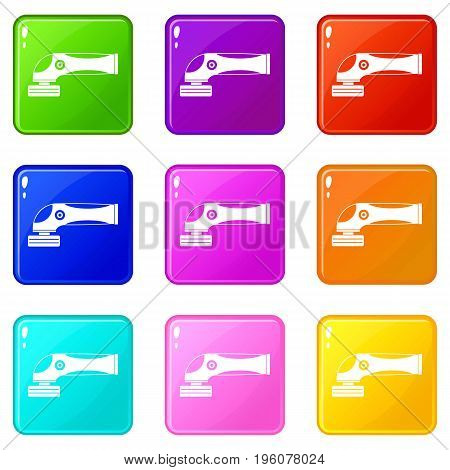 Grinder machine icons of 9 color set isolated vector illustration