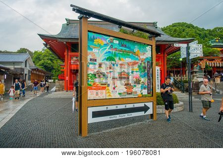 KYOTO JAPAN - NOVEMBER 24, 2016: Informative map of famous shrine at Fushimi Inari in Kyoto, Japan.