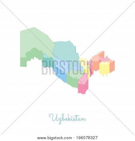 Uzbekistan Region Map: Colorful Isometric Top View. Detailed Map Of Uzbekistan Regions. Vector Illus